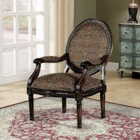 Furniture of America Clarence Traditional Decorative Fabric Print Tobacco Oak Accent Chair