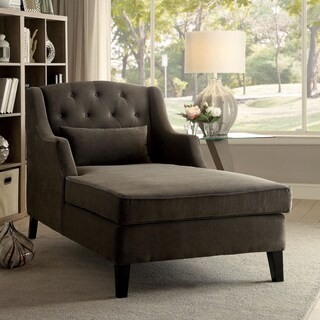 Furniture of America Clevin Traditional Tufted Wingback Mocha Corduroy Chaise