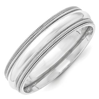 Link to 10K White Gold 6mm Double Milgrain Comfort Fit Band by Versil Similar Items in Rings