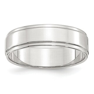 Sterling Silver 6mm Flat With Step Edge Band - White (More options available)