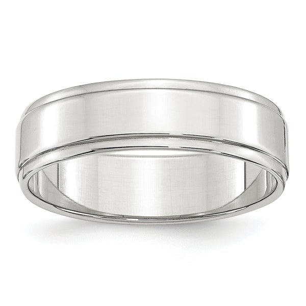 Sterling Silver 6mm Flat With Step Edge Band - White