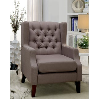 Furniture of America Venich Contemporary Brown Fabric Tufted Wingback Chair
