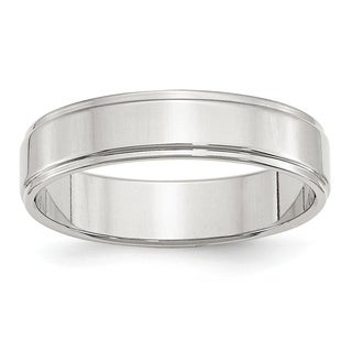 Sterling Silver 5mm Flat With Step Edge Band - White