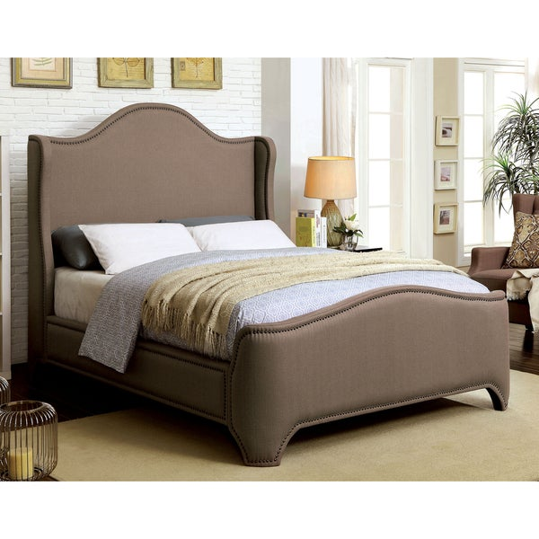 Furniture of America Daur Contemporary Brown Full Fabric Wingback Bed
