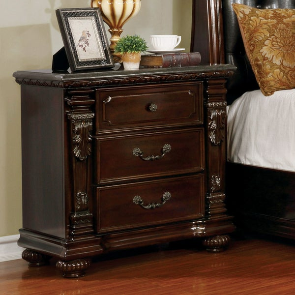Furniture of America Days Traditional Cherry Solid Wood Nightstand