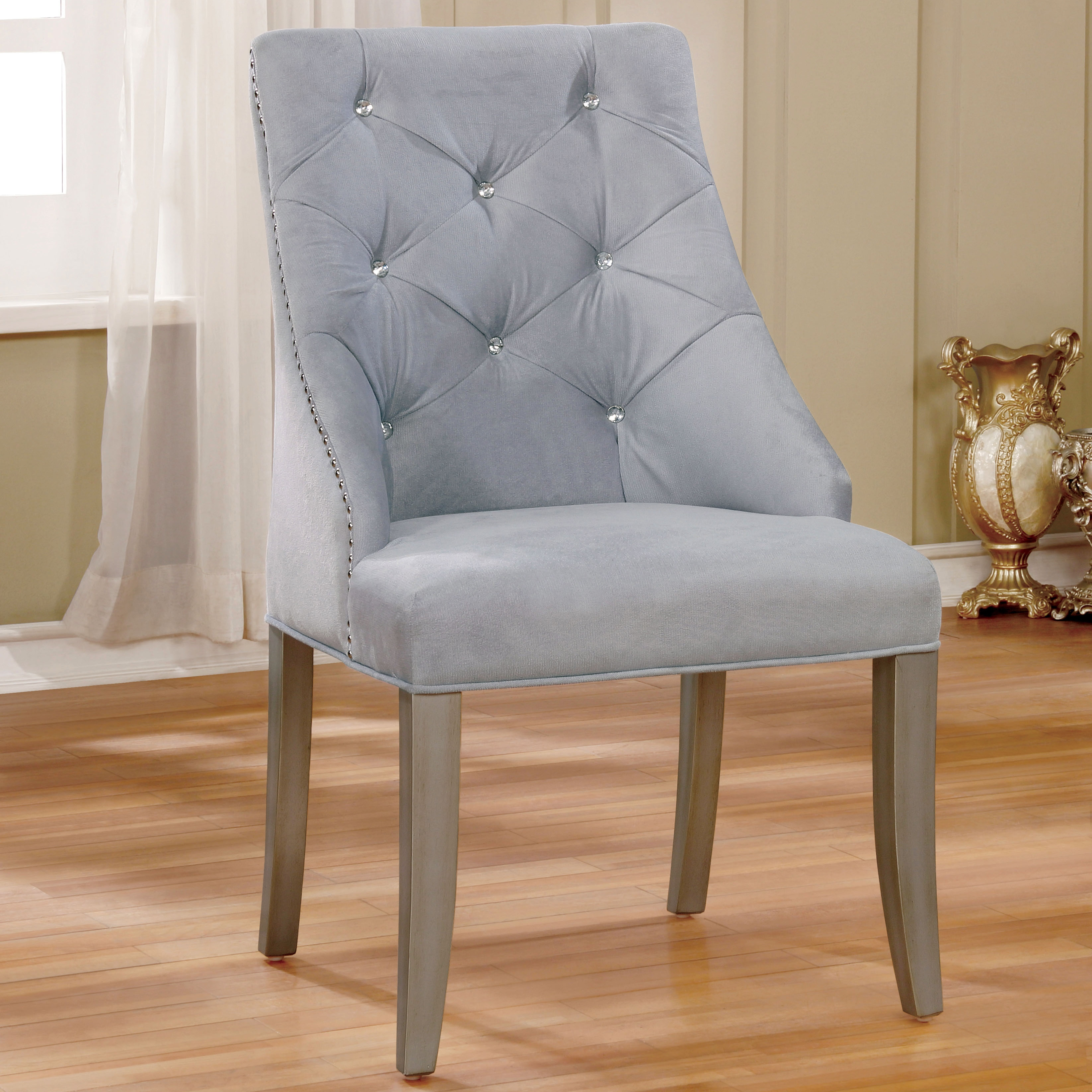 Furniture of America Selano Contemporary Tufted Flannelet...