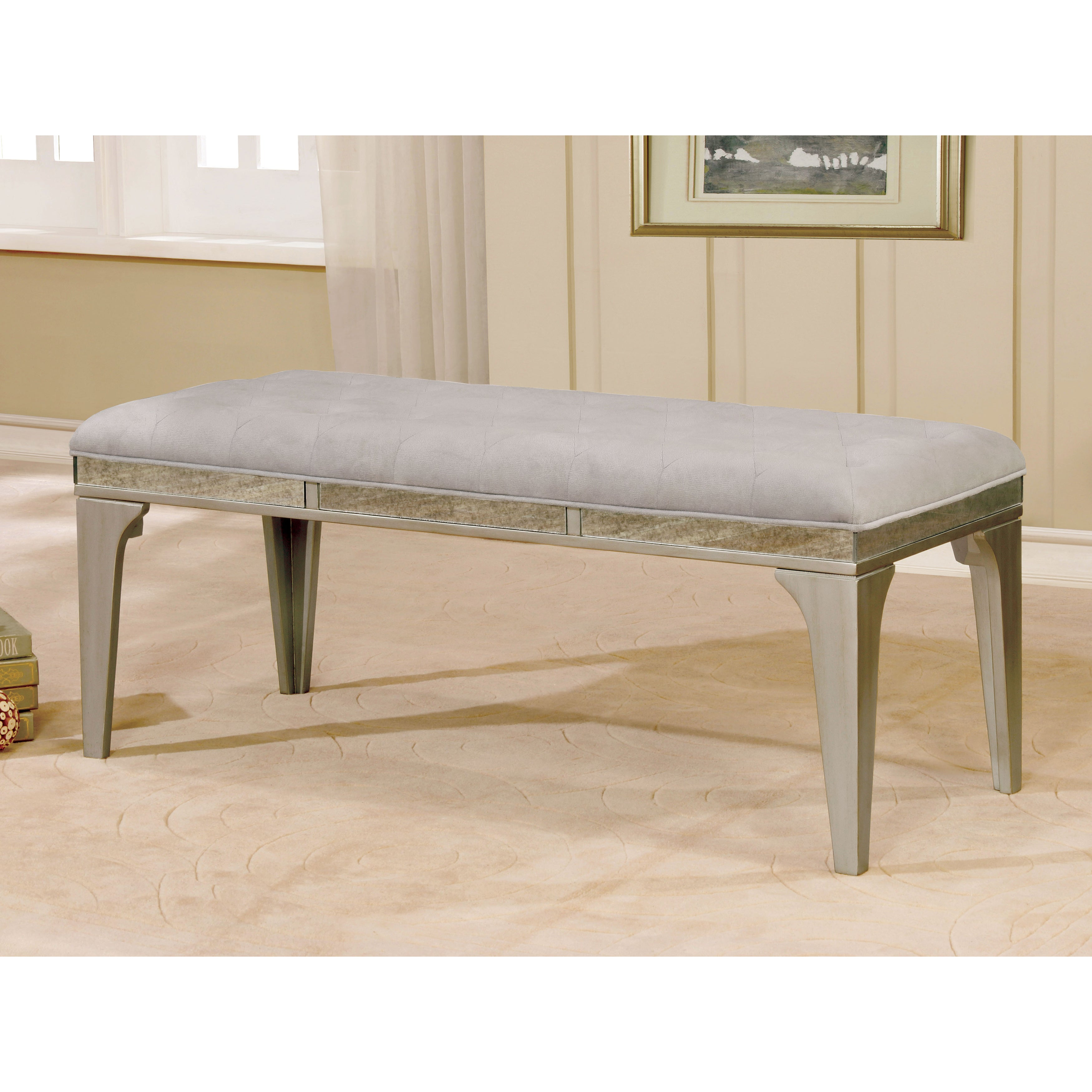 Awe Inspiring Selano Contemporary 50 Inch Silver Dining Bench By Foa Beatyapartments Chair Design Images Beatyapartmentscom