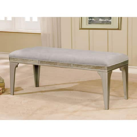 Furniture of America Weas Contemporary Sliver Fabric Dining Bench