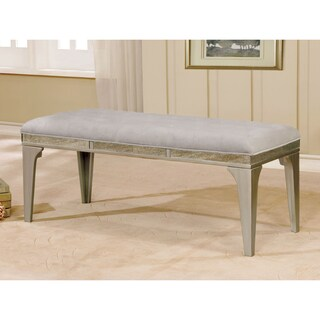 Furniture of America Selano Contemporary Tufted Flannelette Silver 50-inch Dining Bench