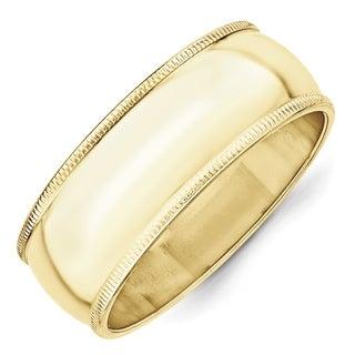 10 Karat Yellow Gold 8mm Milgrain Half Round Band