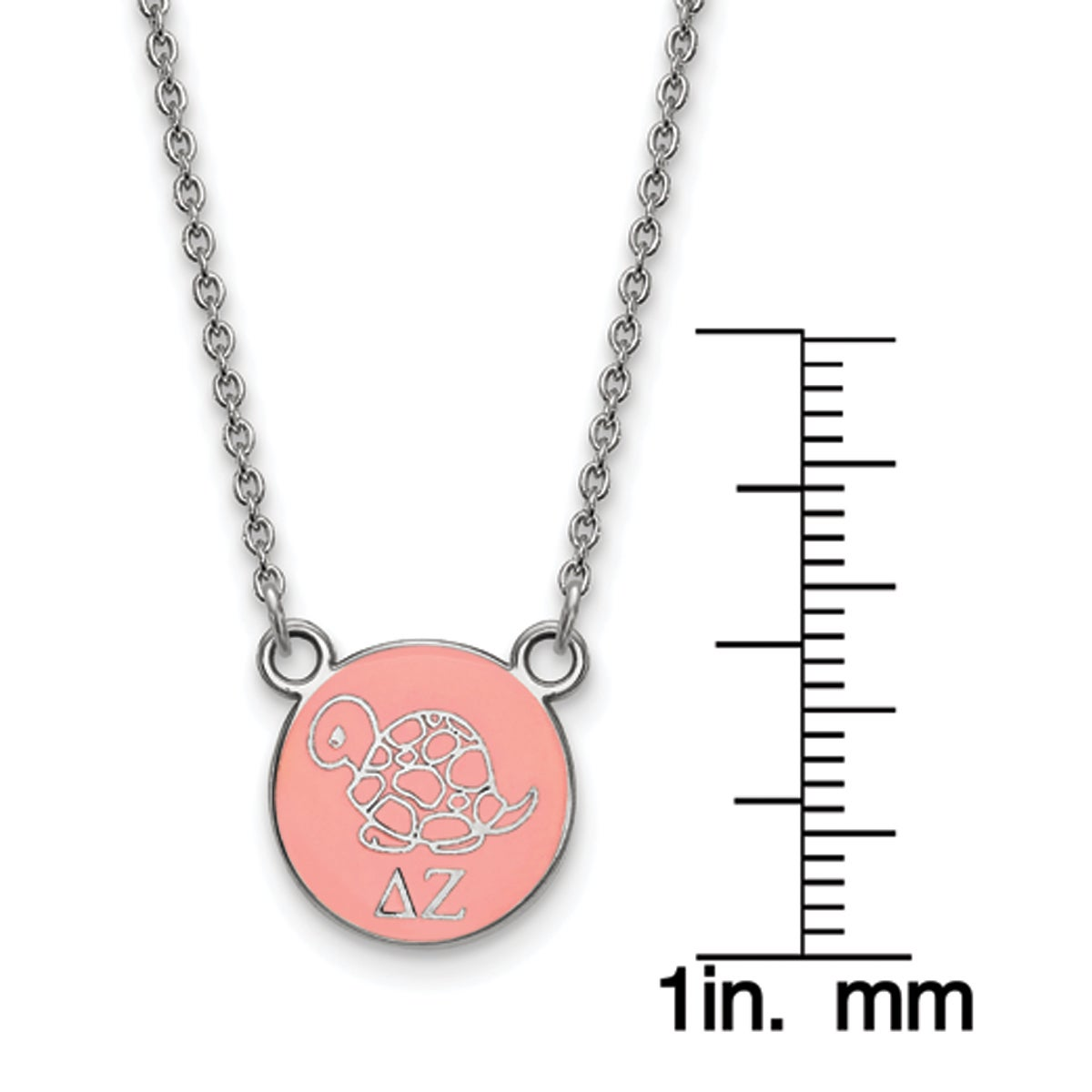 925 Sterling Silver Rhodium-plated Delta Zeta Enameled Extra Small Sororities Pendant Necklace w//18 Chain