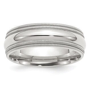 Versil Sterling Silver 7mm Comfort Fit Double Milgrain Band - White