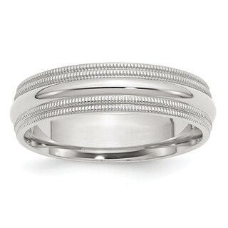Sterling Silver 6mm Comfort Fit Double Milgrain Band - White