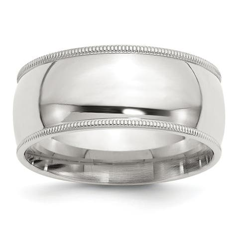 Sterling Silver 9mm Milgrain Comfort Fit Band - White by Versil