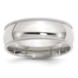 Versil Sterling Silver 7mm Milgrain Comfort Fit Band - White