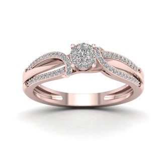 De Couer 1/5ct TDW Diamond Cluster Engagement Ring - Pink