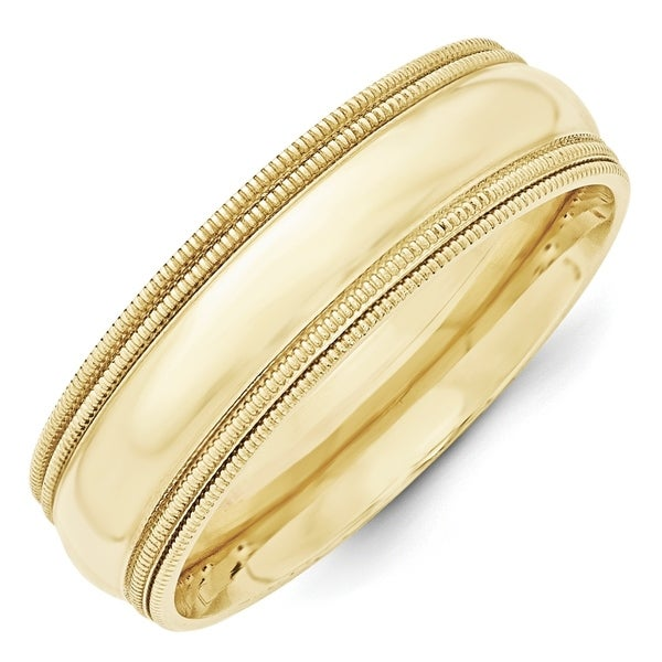 10 Karat Yellow Gold 7mm Double Milgrain Comfort Fit Band by Versil. Opens flyout.