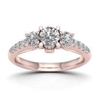 De Couer 1ct TDW Diamond Three-Stone Anniversary Ring (H-I, I2) - Pink