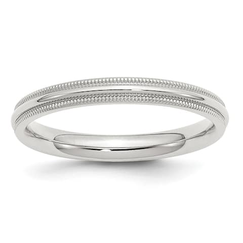 Sterling Silver 3mm Comfort Fit Milgrain Band by Versil - White