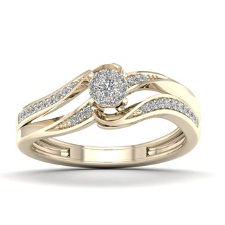 De Couer 1/6ct TDW Diamond Cluster Engagement Ring - Yellow