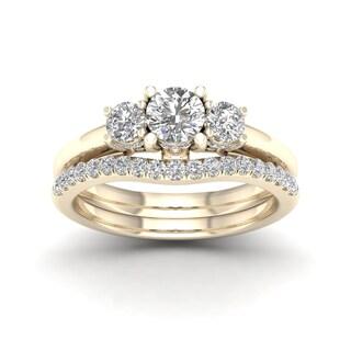 De Couer 1 1/2ct TDW Diamond Three Stone Anniversary Ring Set - Yellow