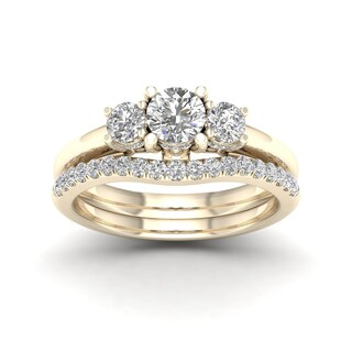 De Couer 1 1/2ct TDW Diamond Three Stone Anniversary Ring Set - Yellow (More options available)