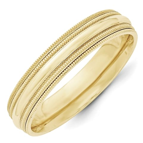 10K Yellow Gold Polished 5mm Double Milgrain Comfort Fit Band by Versil