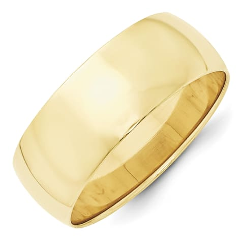 10 Karat Yellow Gold 8mm Lightweight Half Round Band by Versil