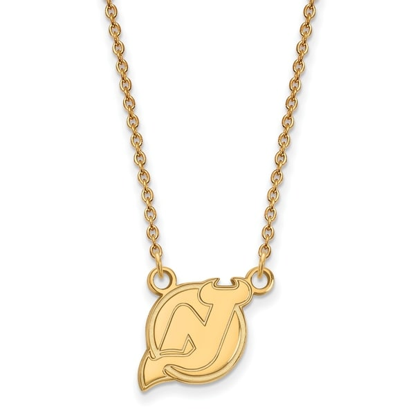 1e48507dd Versil Sterling Silver with Gold Plating NHL LogoArt New Jersey Devils  Small Pendant with Necklace