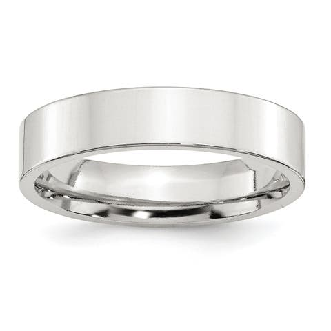 Versil Sterling Silver 5mm Comfort Fit Flat Band - White