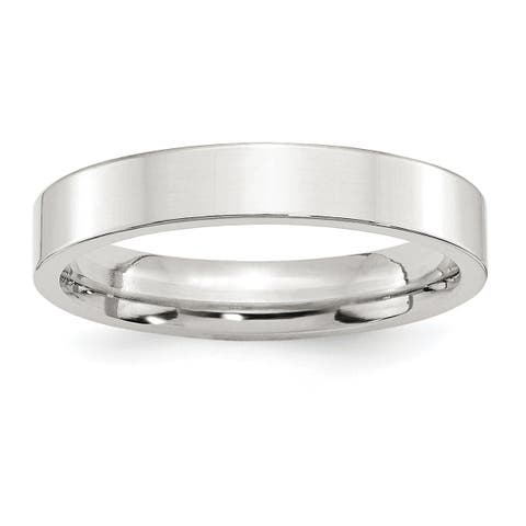 Versil Sterling Silver 4mm Comfort Fit Flat Band - White