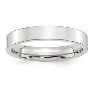 Sterling Silver 4mm Comfort Fit Flat Band - White