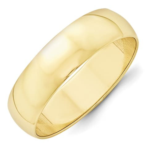 10k Yellow Gold 6mm Polished Lightweight Half Round Band by Versil