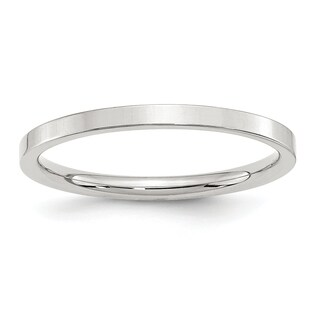 Sterling Silver 2mm Comfort Fit Flat Band - White