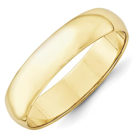 10K Yellow Gold 5mm Polished Lightweight Half Round Band by Versil