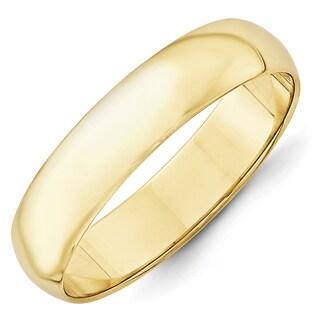 10 Karat Yellow Gold 5mm Lightweight Half Round Band