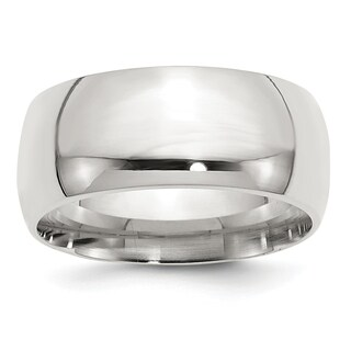 Sterling Silver 10mm Comfort Fit Band - White