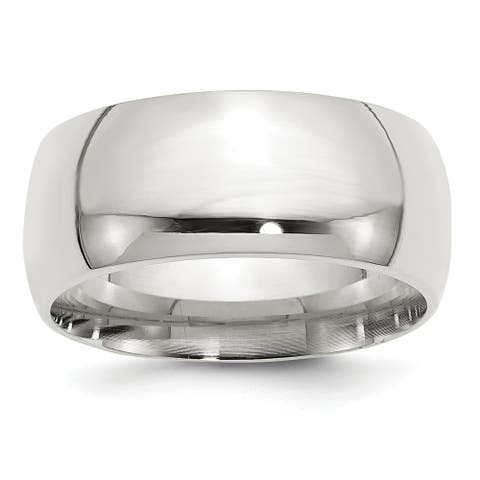 Sterling Silver 10mm Comfort Fit Band - White by Versil