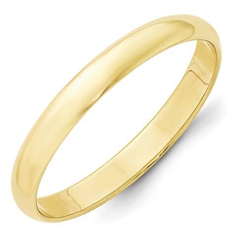 10 Karat Yellow Gold 3mm Lightweight Half Round Band by Versil