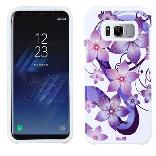 Insten White/ Purple Hibiscus Flower Romance Advanced Armor Hard Snap-on Dual Layer Hybrid Case Cover For Samsung Galaxy S8