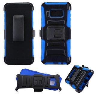 Insten Black/ Blue Advanced Armor Hard Snap-on Dual Layer Hybrid Case Cover with Stand/ Holster For Samsung Galaxy S8 Plus S8+|https://ak1.ostkcdn.com/images/products/15868069/P22276571.jpg?impolicy=medium