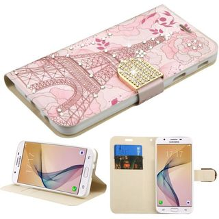 Insten Pink Eiffel Tower Leatherette Case Cover with Stand/ Wallet Flap Pouch/ Diamond For Samsung Galaxy J5 Prime/ On5 (2016)