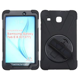 Insten Black Wristband Hard Snap-on Rubberized Matte Case Cover with Stand For Samsung Galaxy Tab E 8