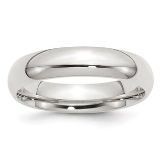 Sterling Silver 5mm Comfort Fit Band - White
