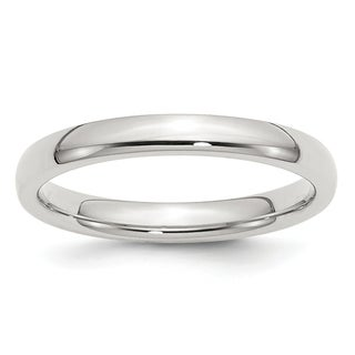 Sterling Silver 3mm Comfort Fit Band - White (Option: 12.5)