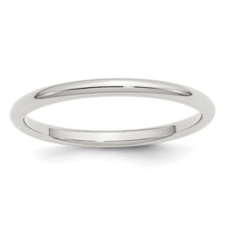 Sterling Silver 2mm Comfort Fit Band - White