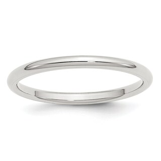 Sterling Silver 2mm Comfort Fit Band - White (Option: 12.5)