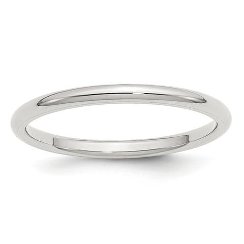 Sterling Silver 2mm Polished Comfort Fit Wedding Band by Versil