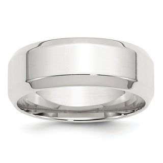 Sterling Silver 8mm Bevel Edge Band