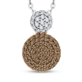 10K Two-Tone Gold 3/4ct TDW White and Brown Diamond Circle Pendant (G-H, I2-I3)